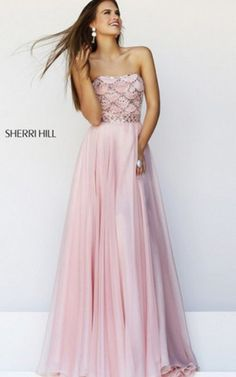 Beautiful pink prom dress 2014 by Sherri Hill with silver beaded strapless bodice and waist, featuring an elegant long pink skirt Peach Prom Dresses, Prom Dress 2014, Sherri Hill Prom Dresses, Prom Dresses For Sale, A Line Prom Dresses, Cheap Dresses, Homecoming Dresses, Evening Dresses, Bridesmaid Dresses