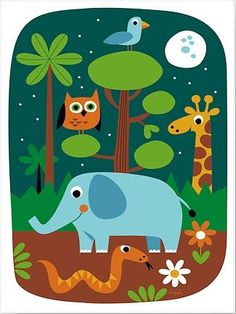 The Jungle by Ingela P Arrhenius Canvas - £54.95 - A fabulous selection of nursery wall art from babye