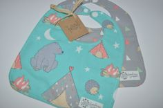 Bear teepee camping baby bib set teal and grey by GoodnessGrayson