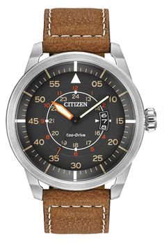 Citizen Eco-Drive Men's Stainless Steel Watch with Brown Leather Strap – Watches for Boys Field Watches, Sport Watches, Cool Watches, Watches For Men, Citizen Watches, Men's Watches, Luxury Watches, Fancy Watches, Dress Watches