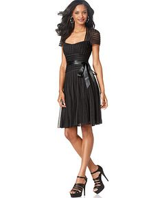 JS Collections Dress, Short Sleeve Satin Stripes Cocktail Dress #MacysFavoriteThings