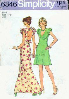 Vintage 1970s Dress Pattern Cutout Back Ruffled Sleeves V Neck Mini or Maxi Length 1974 Simplicity 6346