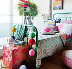colourful  boho chic kids bedroom decoration