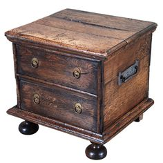 English Circa 1720 An English elm coal box on bun feet. With a hinged lid and later handles.