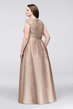 This beautiful plus-size ball gown features a full, shimmering mikado skirt and a flattering V-neck lace bodice. By Chetta B Polyester Back zipper; fully lined Dry clean Imported Also available Plus Size Retro Dresses, Plus Size Gowns, Evening Dresses Plus Size, Plus Size Skirts, Wedding Dresses Plus Size, Plus Size Outfits, Evening Gowns, Mother Of The Bride Plus Size, Mother Of The Bride Dresses Long
