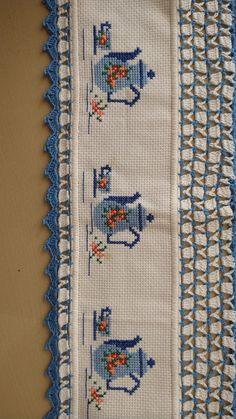Cross Stitch Kitchen, Cross Stitch Art, Cross Stitch Borders, Cross Stitch Flowers, Cross Stitch Designs, Cross Stitching, Cross Stitch Patterns, Baby Girl Dress Design, Border Design