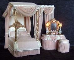 purchased from her and her work is absolutely beautiful! Miniature Dollhouse Furniture, Miniature Rooms, Miniature Houses, Dollhouse Miniatures, Mini Doll House, Barbie Doll House, Canopy Bedroom Sets, Barbie Bedroom, Accessoires Barbie