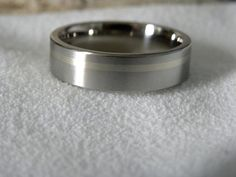 Titanium Ring with 1mm Offset White Gold Inlay by titaniumknights