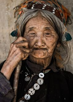 La Hu is one of the smallest ethnic groups of Vietnam. This woman was the oldest of the village. 90 years old