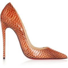 Christian Louboutin So Kate 120 watersnake pumps (4.960 BRL) ❤ liked on Polyvore featuring shoes, pumps, heels, christian louboutin, louboutin, orange, heels & pumps, high heel pumps, pointy toe high heel pumps and orange pumps