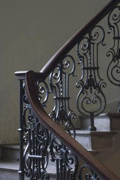 Photo: Detail of Staircase at Platt Hall, Manchester, England, UK by David Barbour : Staircase Railing Design, Wrought Iron Stair Railing, Spiral Staircase, Steel Stairs, Staircase Remodel, House Stairs, Iron Decor, Home Deco, Manchester England