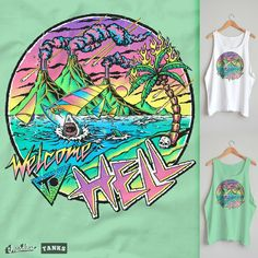 I'm not sure about the rest of the world, but in Australia there's been a big resurgence of the 80/90s era fluro surf logo tee & tank. So why not bring the apocalypse down on it?  On white or mint.