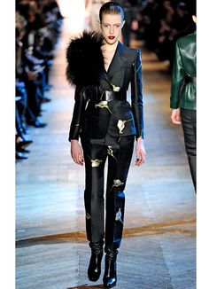 Yves Saint Laurent: Aside from the fur shoulder ridiculousness, I really love this suit.