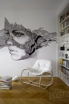 Contemporary Living Room with Herringbone hardwood floor, Dot & Bo Tufted Rocker