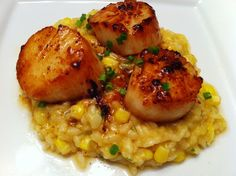 Seared Scallops with Sweet Corn Risotto-UH,....YES PLEASE!!!!!!!!!!!!!