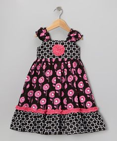 Take a look at this Pink & Black Garden Trellis Kristin Dress - Toddler & Girls by Sage & Lilly on #zulily today!
