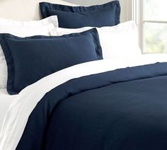 Belgian Flax Linen Duvet Cover, Full/Queen, Midnight