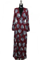 Fleur-Ever Yours Long Sleeve Floral Maxi Dress - Wine + Multi