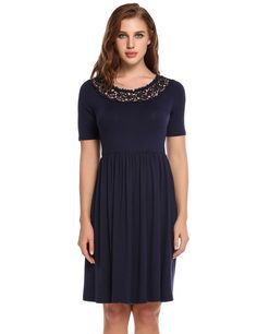 Navy blue Lace Boat Neck Short Sleeve Fit and Flare Casual Dress