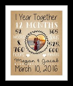 Personalized time together anniversary gift for him her or couple. Elegant designed art print can be used for anniversaries, weddings, graduations, or any other special occasion. You may choose any year and add photo names date to make a unique personalized gift. Original Design by