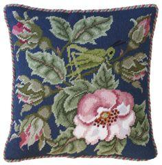 Grasshopper cushion  taken from the Rose Garden needlepoint design