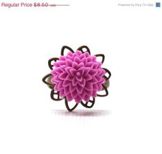 Mothers Day Sale Lilac Purple Mum Ring by GirlBurkeStudios on Etsy, $7.65