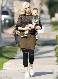 Yummy mummy: Gwen Stefani was spotted out and about with her son Apollo in LA on Thursday ...