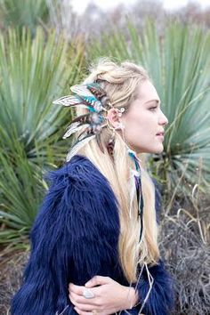 Spirit Tribe OG Feather ear cuff // earcuff, feather earrings, tribal earrings, coachella festival, feather headdress, burning man, elvin je