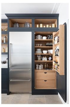 20 stunning dark kitchen ideas 20 stunning dark kitchen ideas Navy kitchen larder<br> From flooring to cabinets and dark paint ideas. Kitchen Pantry Design, Modern Kitchen Design, Home Decor Kitchen, Interior Design Kitchen, Home Kitchens, Kitchen Pantry Cabinets, Dark Kitchens, Kitchen Organization, Kitchen Storage