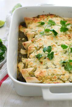 Pulled Pork Salsa Verde Enchiladas