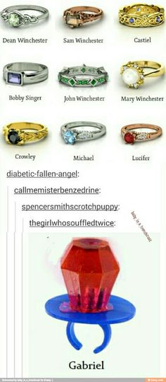 my favorites are Michael's, Lucifer's, Castiel's, and of course, Gabriel's XD