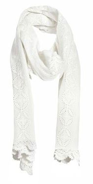 White Broderie Anglais Style Scarf  ¥2,730
