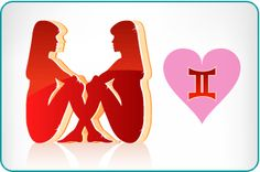 Illustration of the Gemini Twins next to the Gemini symbol within a heart