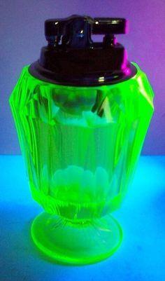 Viking Vaseline Glass Table Lighter