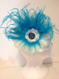Jumbo White Flower and Turquoise Feather Headband by FancyGirlBoutiqueNYC