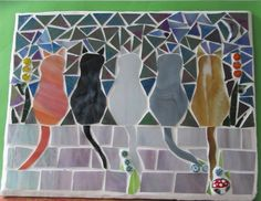 5 cats made with a beautiful grey streaky, a vibrant streaky orange ginger, and a black stained glass, a streaky amber and a white iridescent (which looks like mother of pearl) A beautiful blue stained glass sky, white / pink opal iridescent wall, green leaves with millefiori flowers. | eBay!