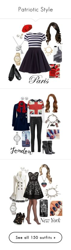 """""""Patriotic Style"""" by briony-jae ❤ liked on Polyvore featuring NYX, Accessorize, Betmar, Audiology, Surface To Air, Mikimoto, Disney, Burberry, Forever New and Kenneth Jay Lane"""