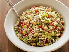 Bulgur Salad with Green Onion Vinaigrette : Fresh mint, parsley, lime juice and two types of onions create a phenomenal dressing to top this hearty whole-grain salad.