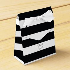 Trendy Black White Striped Favor Field.  Look into more at the image link