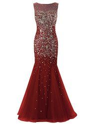 Dresstells® Long Mermaid Prom Dress Tulle Evening Party Dress with Beadings Burgundy Size 8