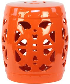 Amalfi Ceramic Garden Stool - Orange - Patio Tables at Hayneedle
