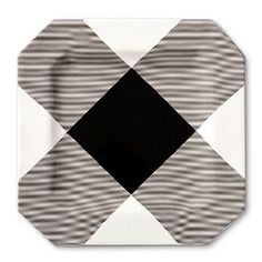 Adam Lippes for Target Ceramic Serving Tray - Black & White Plaid