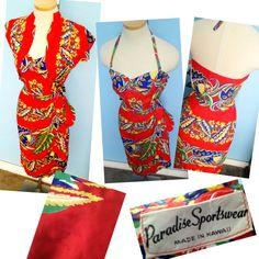 Vintage 1940s 1950s Paradise Rayon Hawaiian Sarong Halter matching bolero dress set