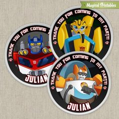 Transformers Rescue Bots Printable Birthday Favor Tag Labels