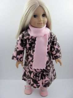 Pink & Brown Damask Fleece Coat with Pink Scarf for the American Girl Doll  by TheWhimsicalDoll2, $10.00