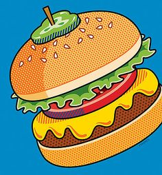 Cheeseburger on Blue by Ron Magnes