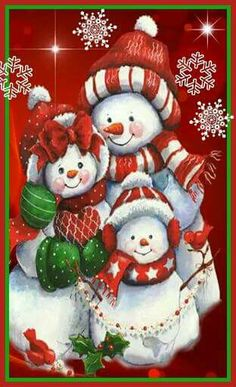 Peppermint Snowman Family