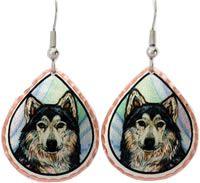 Wildlife Animal Jewelry, Gray Wolf Earrings