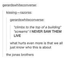 I like how they say the Jonas brothers but you can tell by their URL they mean MCR