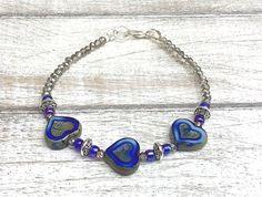 Riverside Blue Glass Heart Bracelet, Picasso Heart Beaded Jewellery, Cobalt Blue, Royal Blue, Deep Sea Coastal Waves Nautical Ocean Bohemian